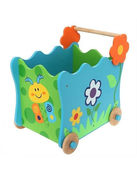 juguetero de madera con ruedas