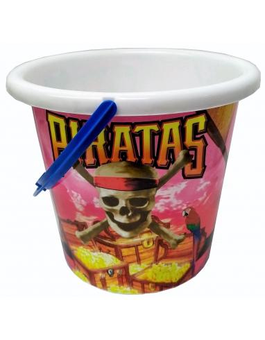 CUBO DE PLAYA CON DIBUJOS DE PIRATAS 3007 19X16CM