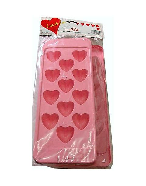 Bandeja de cubitos de plástico con forma de corazón blíster de 2 bandejas