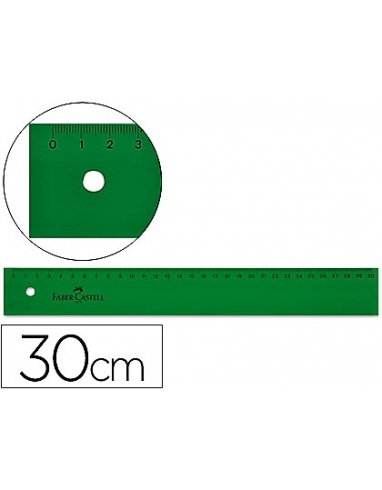 REGLA DE 30CM DE PLASTICO DE FABER CASTELL. VERDE. 813