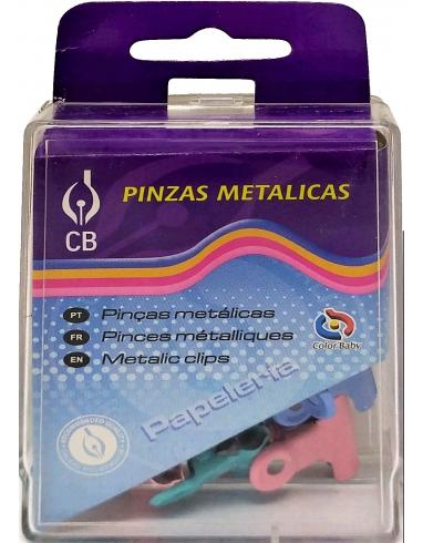 PINZAS METALICAS DE COLORES PEQUEÑAS EN CAJAS DE 12 UNIDADES.