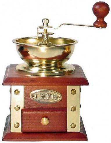 Molinillo de café tipo antiguo decorativo en madera y chapa dorada con accionamiento a manivela.